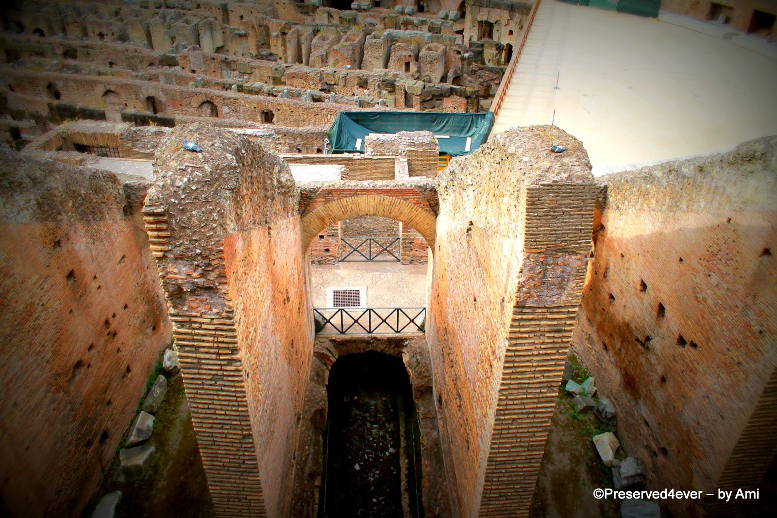 Glimpse of the underground tunnels of the Colosseum