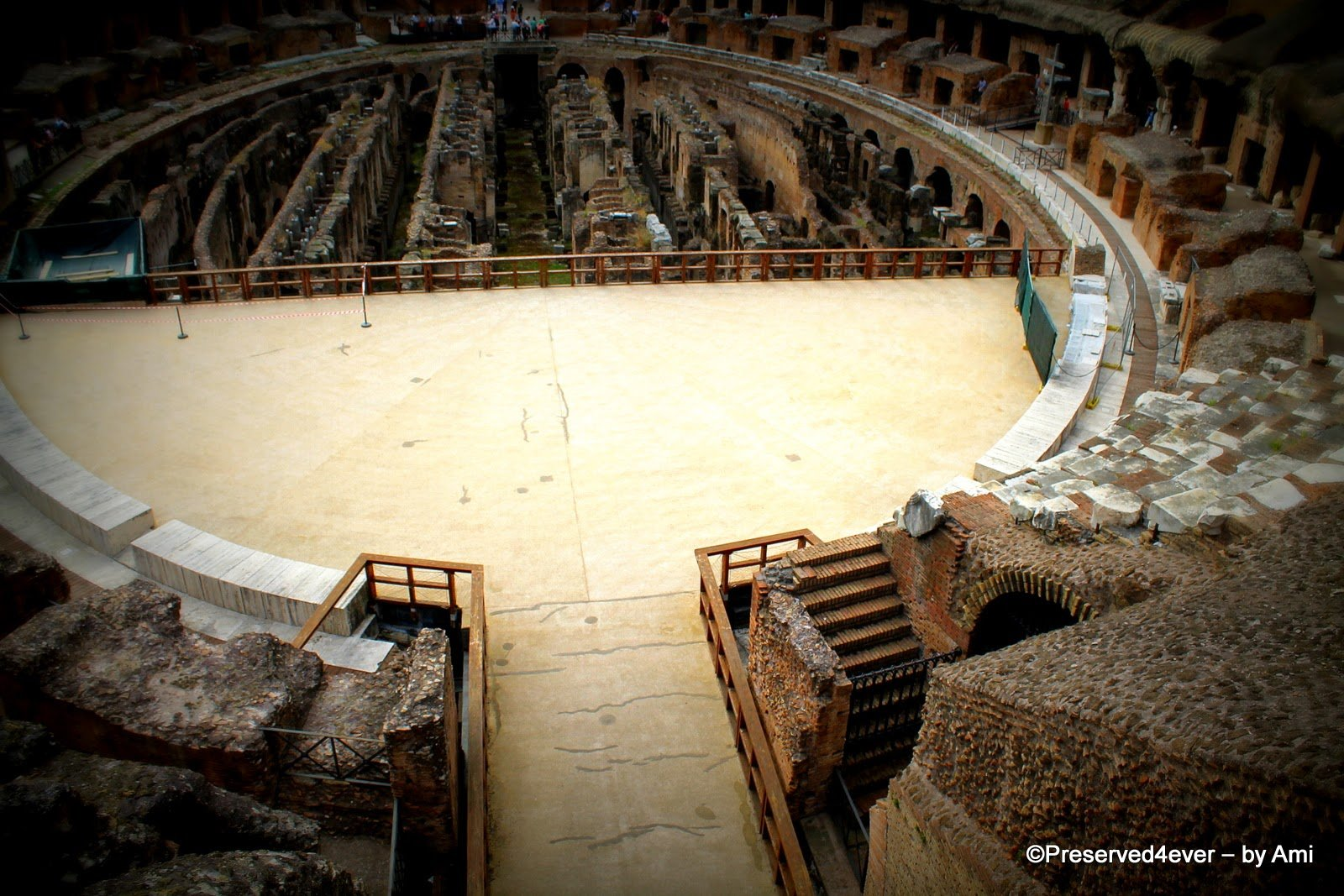 View of the Arena and the trapdoors and cages of the Colosseum