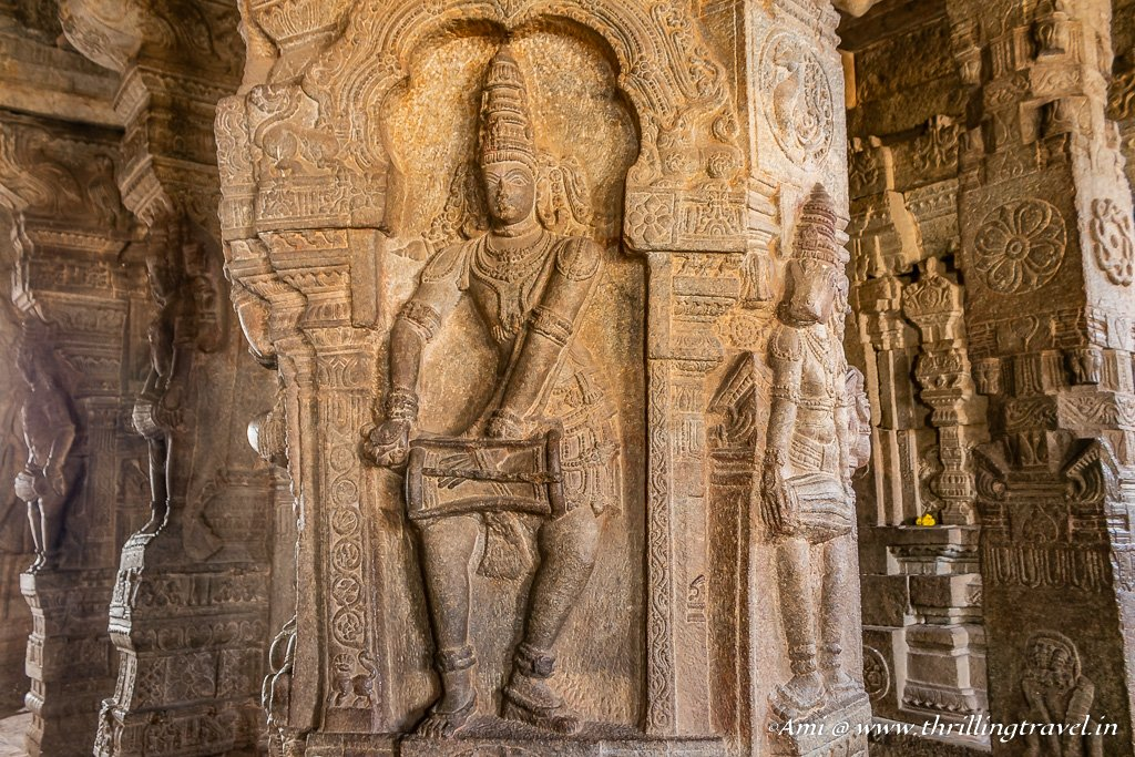 Nymphs carved on the Pillars of Veerabhadra Temple