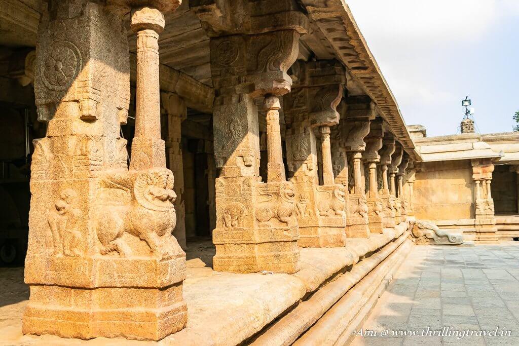 Pillars in the outer corridor of Lepakshi temple