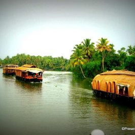 Houseboats in Kerala in the backwaters of Alleppey