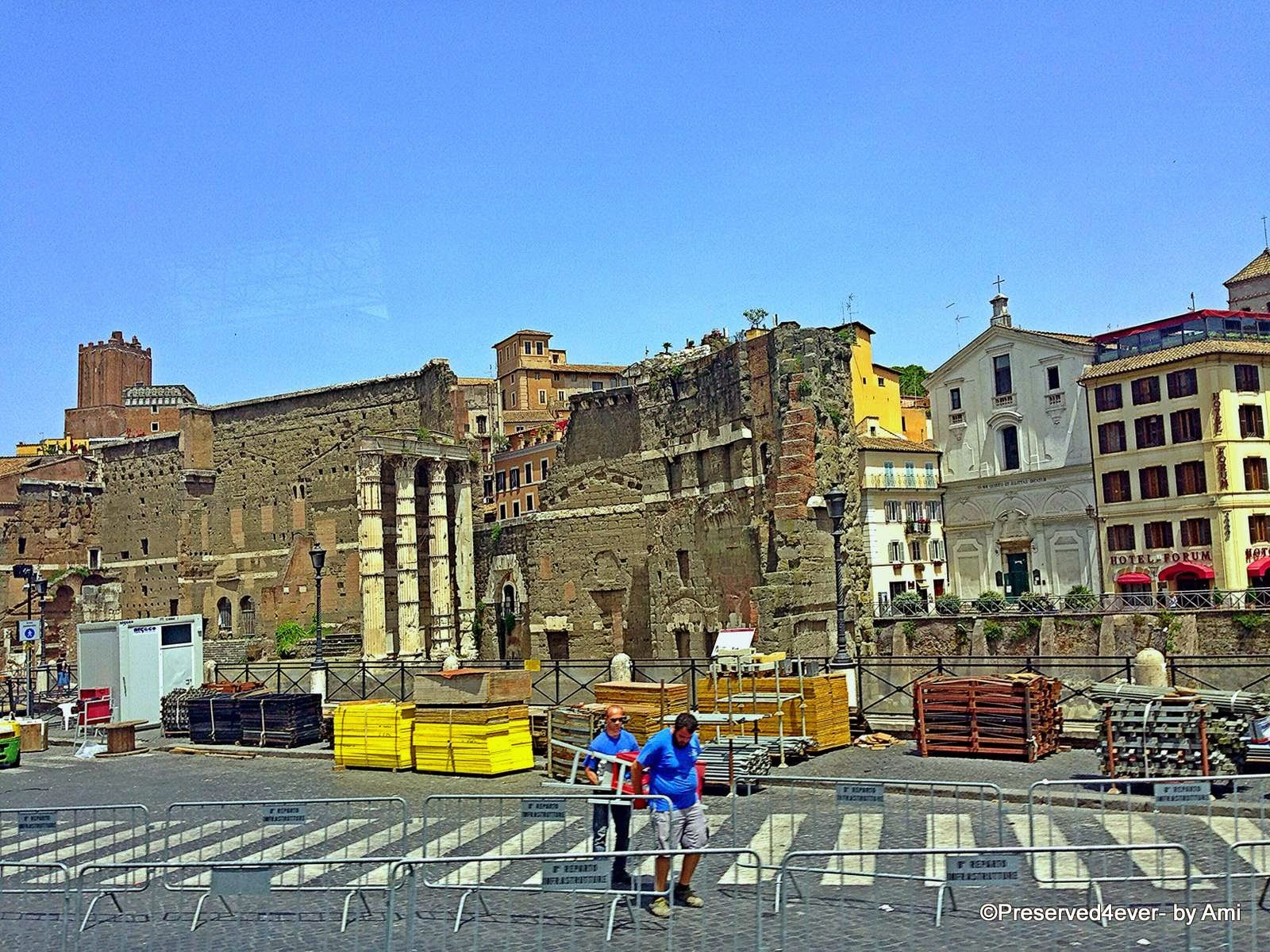 Roman Ruins along the streets of Rome