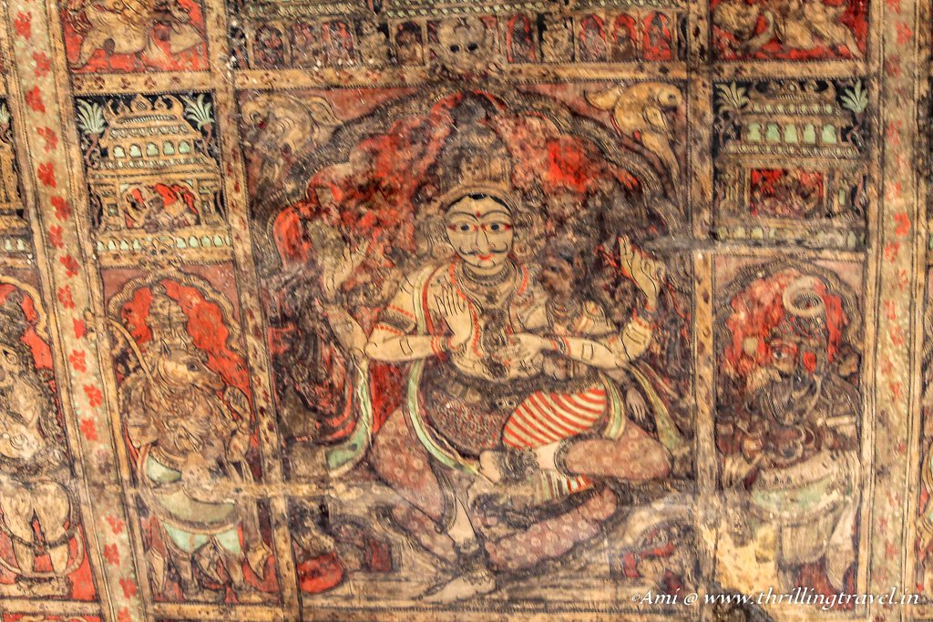 Painting with vegetable ink on the ceilings of Virupaksha temple