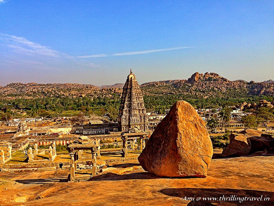 Virupaksha Temple as seen from Hemakuta Hills in Hampi