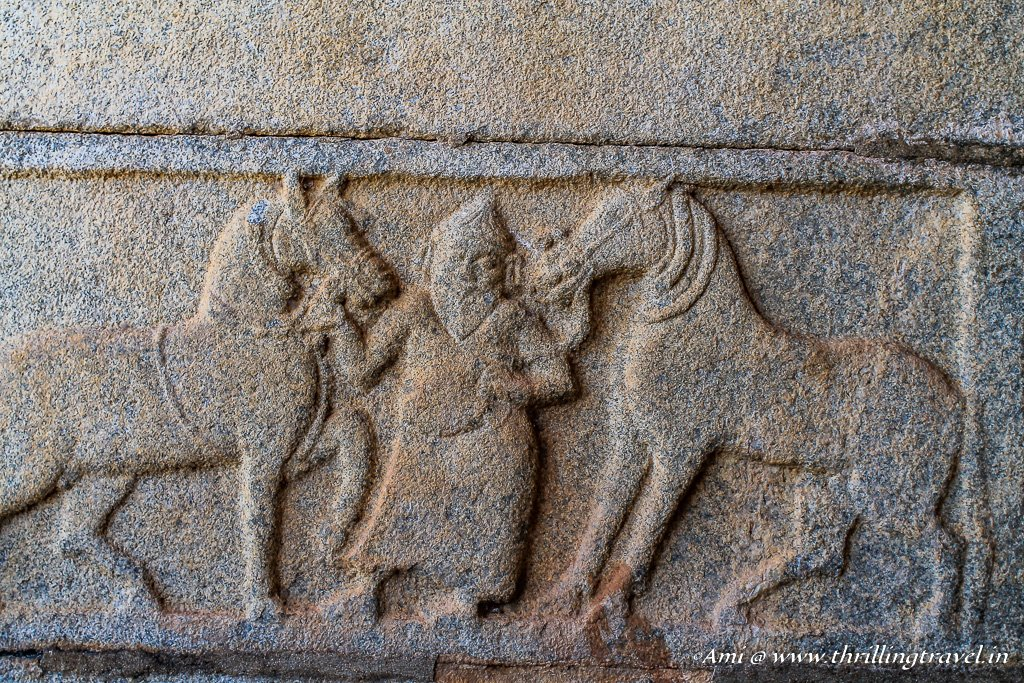 Carving on Mahanavami Dibba, Royal Enclosure Hampi