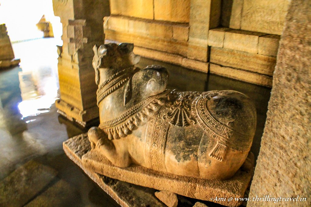 Nandi inside the Underground Siva Temple. Hampi
