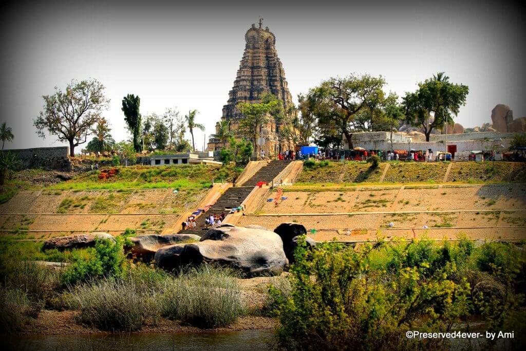 Virupaksha temple from across the Tungabhadra river in Hampi