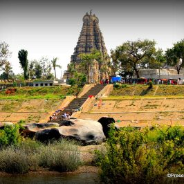 Virupaksha temple from across the Tungabhadra river, Hampi