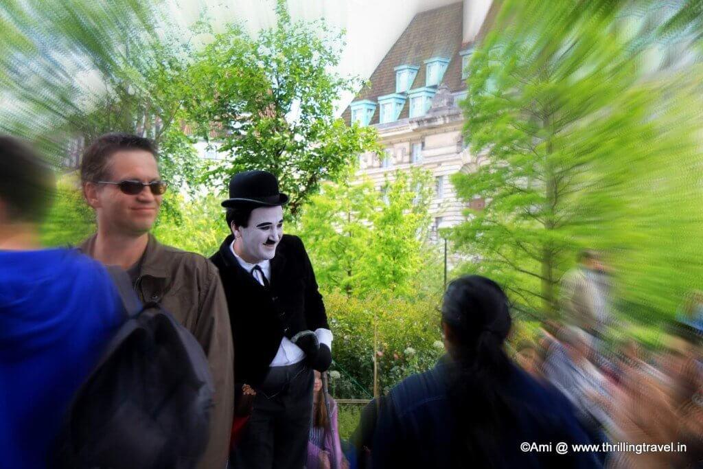 Mr Hardy walking along South Bank in London