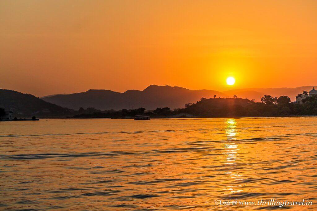 Sunset over Lake Pichola