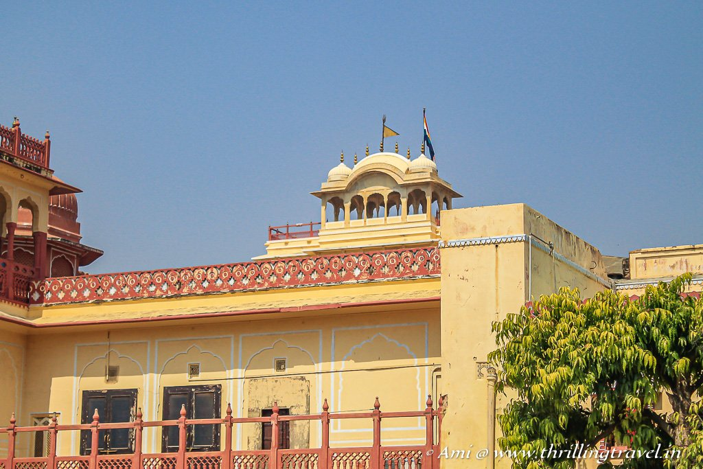 The flag atop the Chandra Mahal