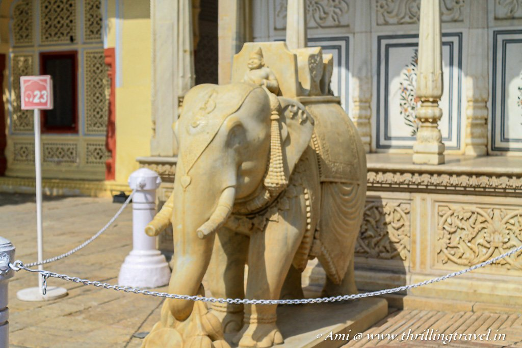 Monolithic Elephant at the Rajendra Pol of City Palace Jaipur