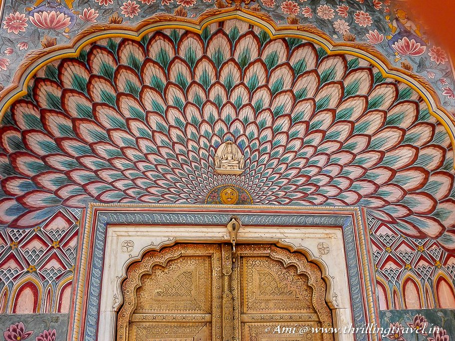 The lotus petals on the gate of Jaipur City Palace