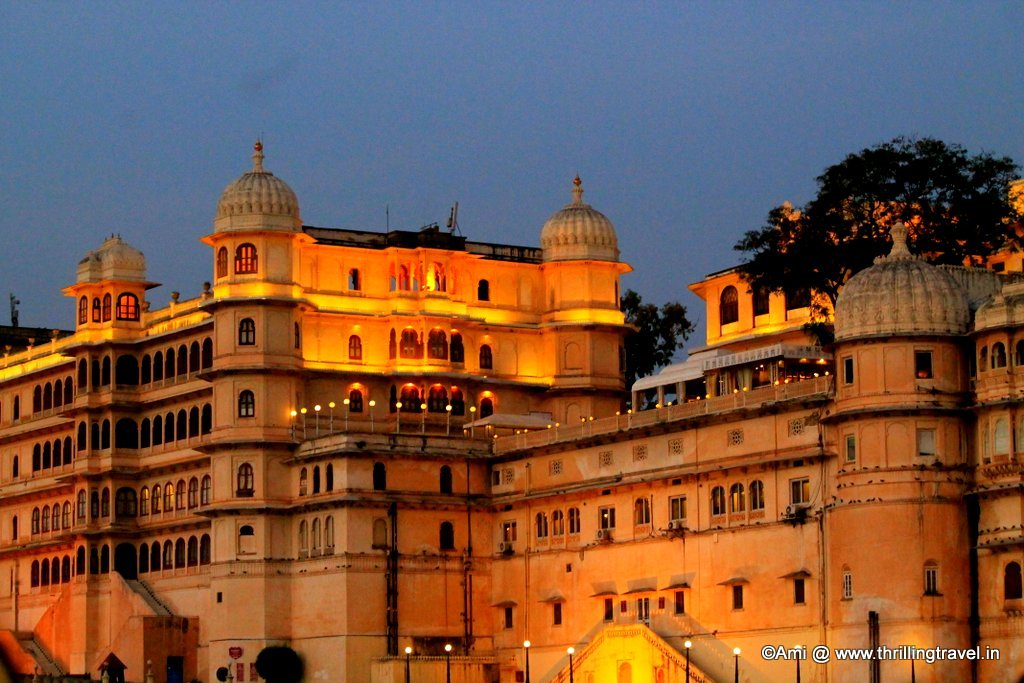 City Palace from Lake Pichola at dusk, Udaipur