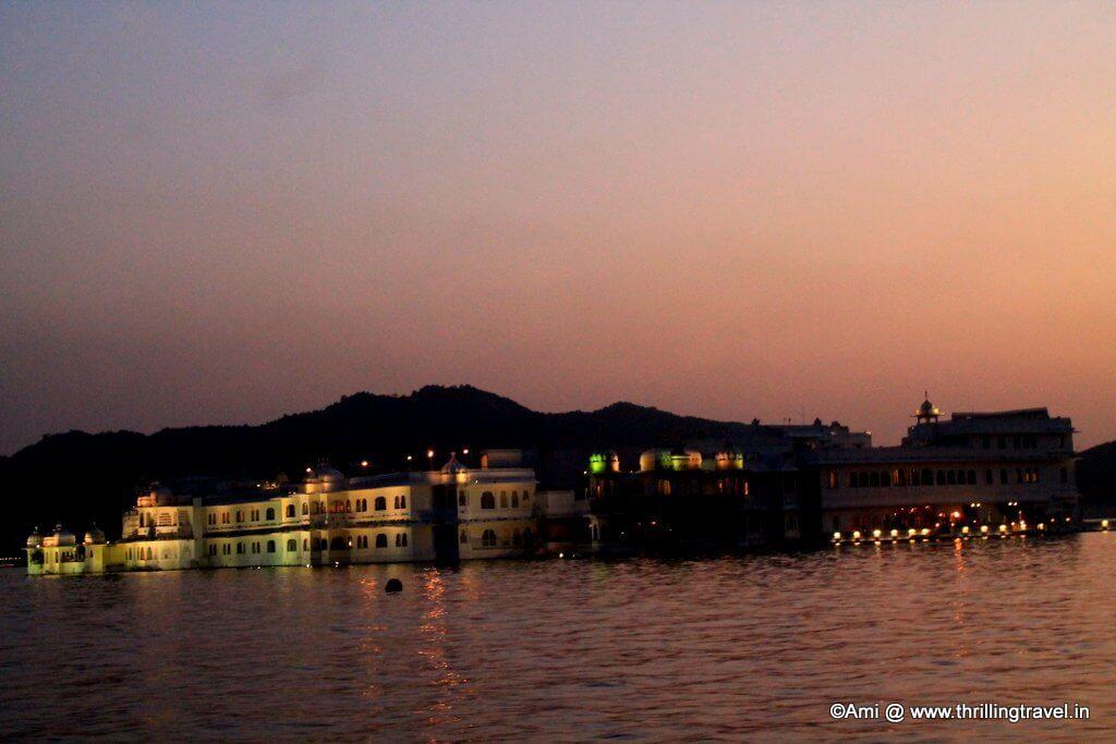 Lake Palace at dusk, Lake Pichola, Udaipur