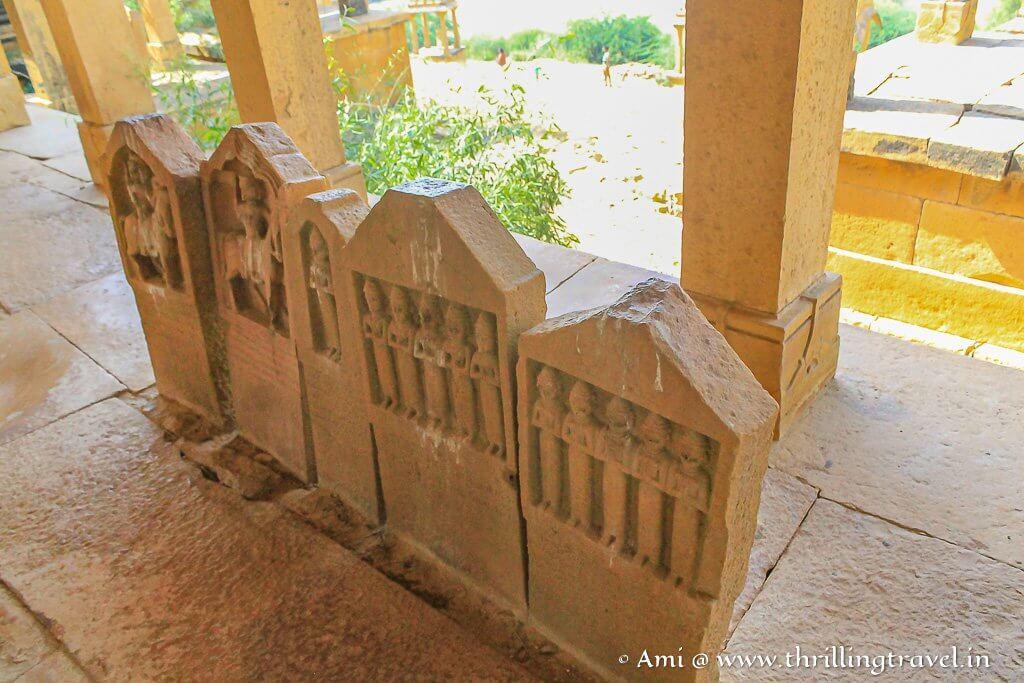 Stone tablets representing the royal family at Bada Bagh, Jaisalmer