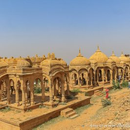 One of the things to do in Jaisalmer is to visit Bada Bagh cenotaphs