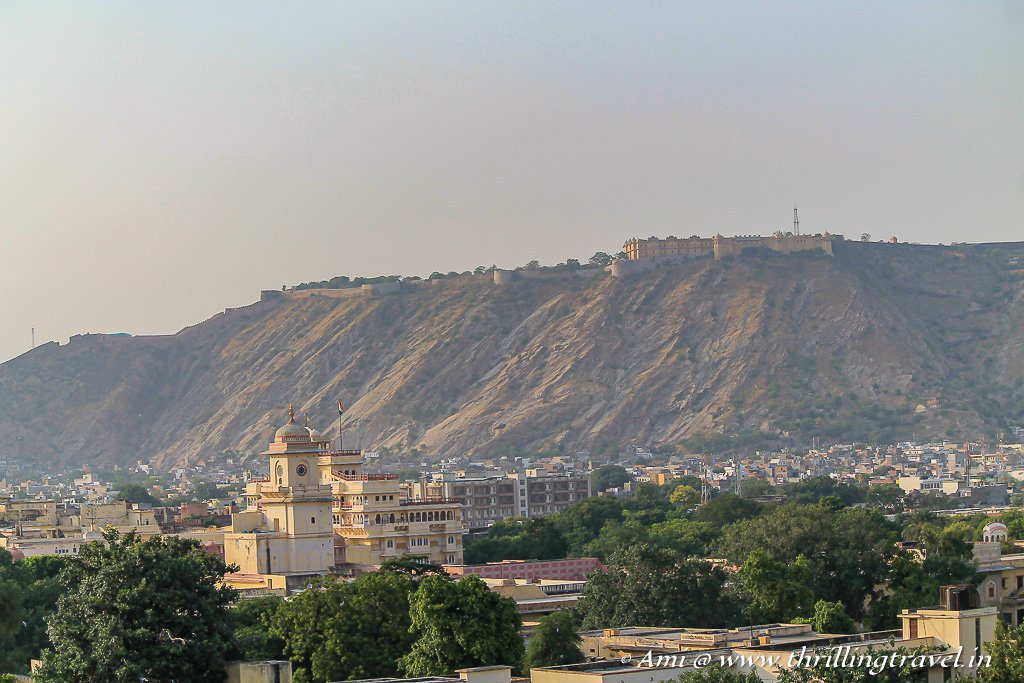 View from Hawa Mandir - City Palace in the foreground and Nahargarh Fort on the hill