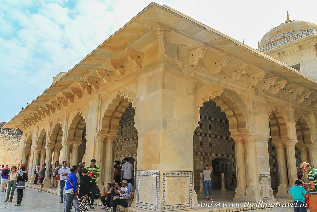 Diwan-e-khas section of the Jai Mandir with the Magic Flower engraving on the pillar