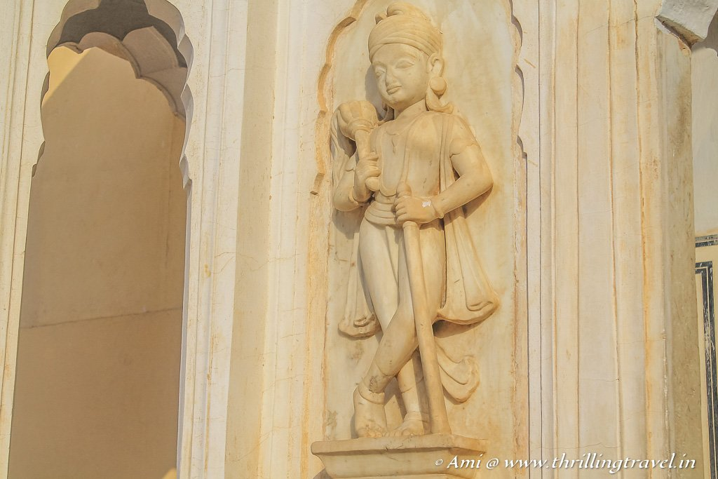 The sculpted figure of a gate keeper (Dwarapala) by the 2nd entrance - Chandrapoli gate