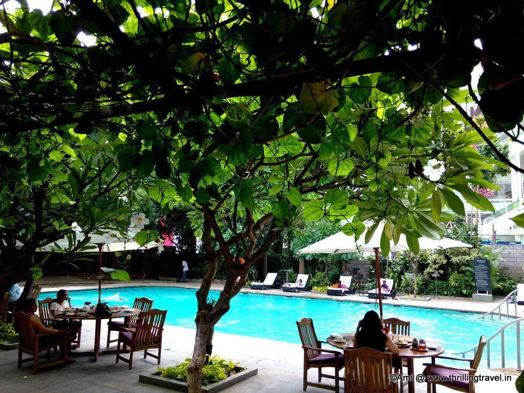 Breakfast by the pool at Taj
