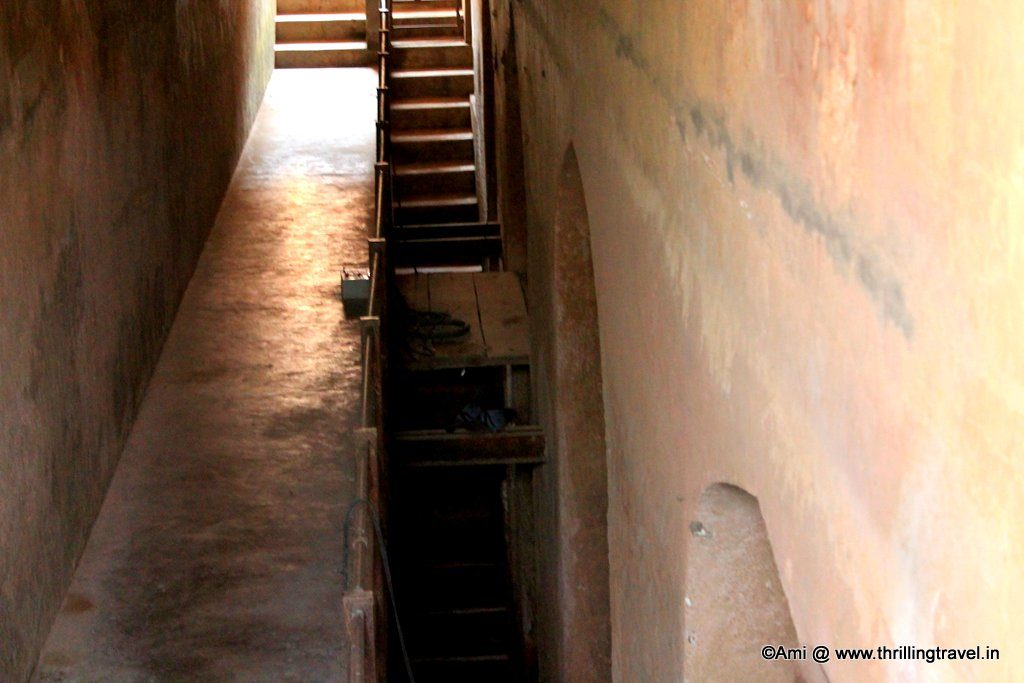 The steps leading to the underground levels of the tank at Jaigarh Fort