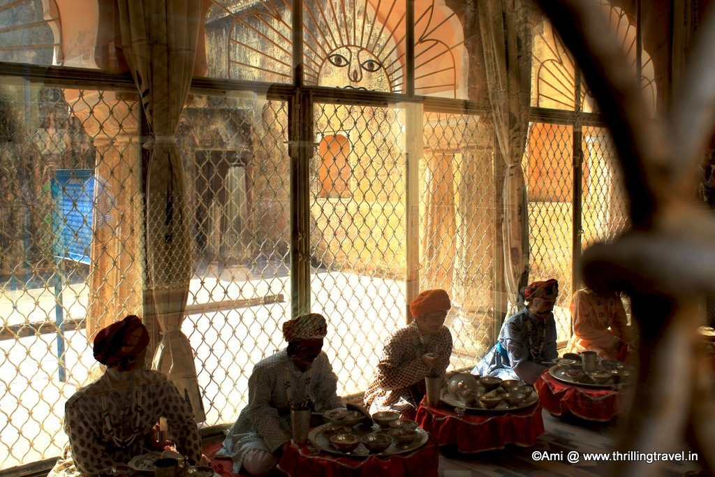 Recreated dining room at Jaigarh Fort