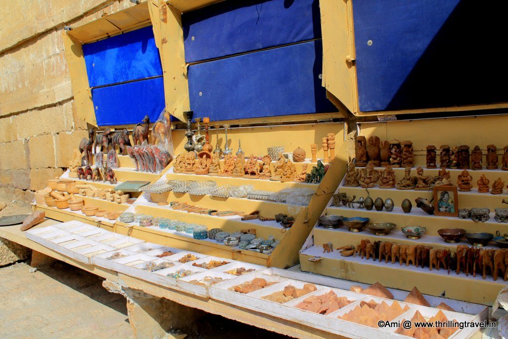 Shopping in Jaisalmer. Fossil Stone at the right hand bottom