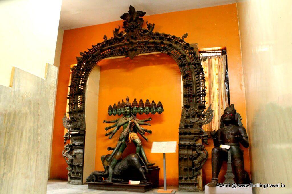 The Ancient Lamp arch with a statue of Mahishasurmardini at Kelkar Museum