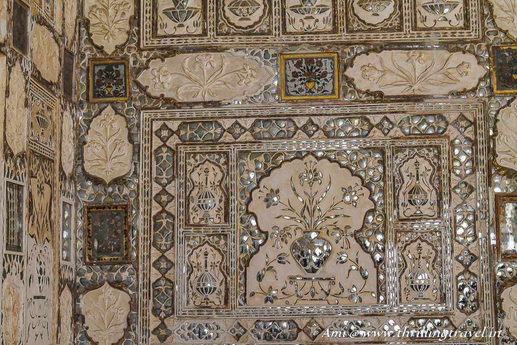 The mirror work in the Sheesh Mahal of Amer Fort Jaipur
