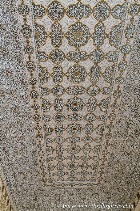 The ceiling of Diwan-e-Khas of Amer Fort Jaipur