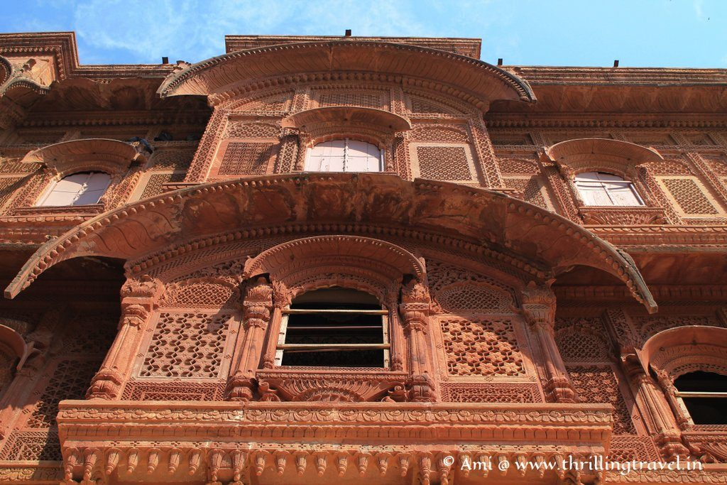 Carved windows and facade of Mehrangarh Fort, Jodhpur