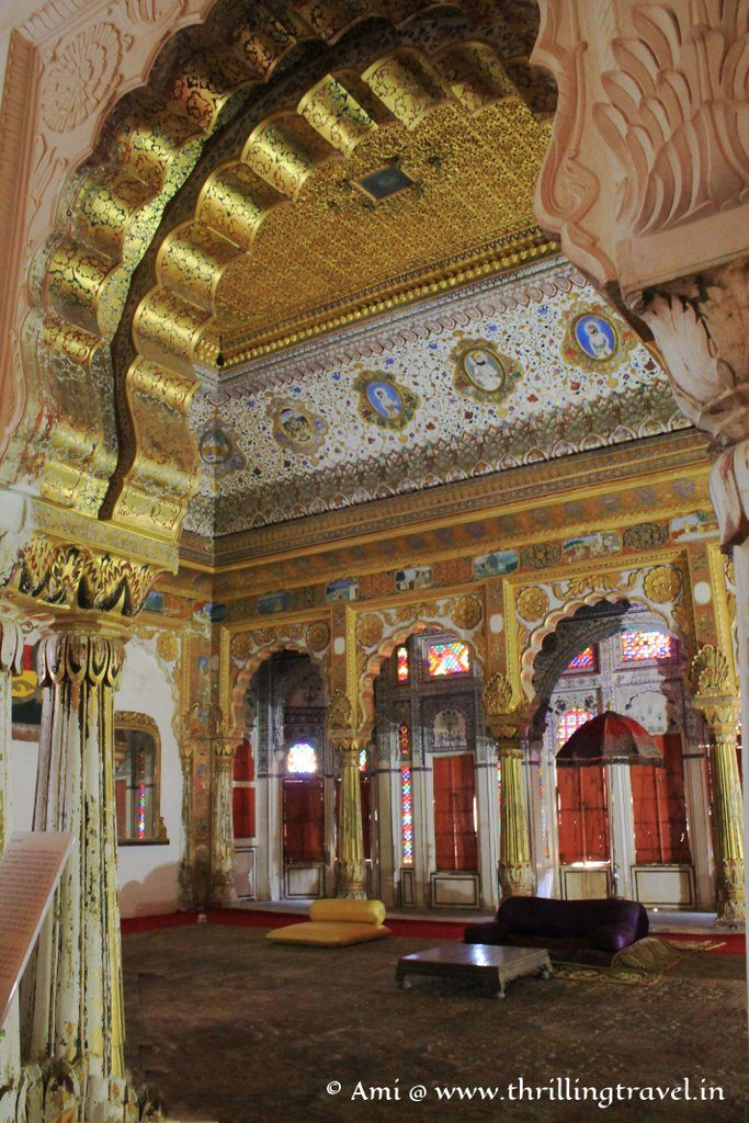 The gilted ceilings and arch of Phool Mahal at Mehrangarh Fort, Jodhpur
