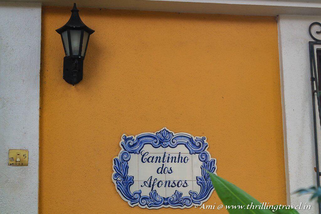 An Azulejo nameplate