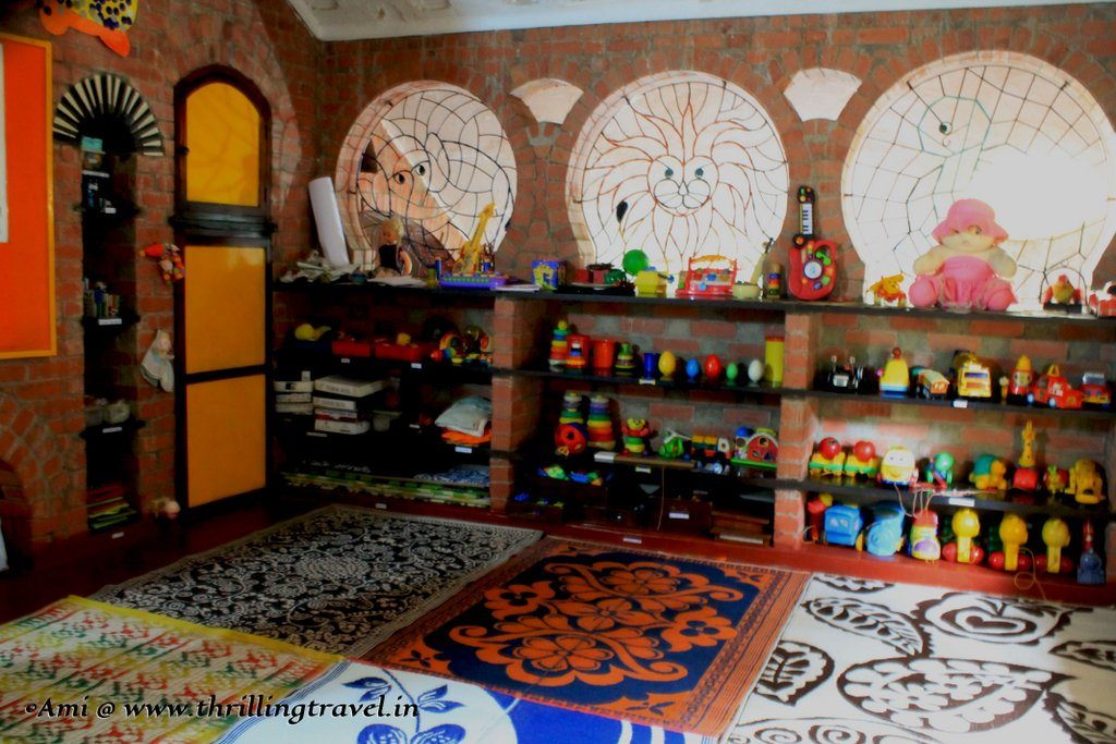 Colorful yet earthy interiors of Nisha's Play School, near the Houses of Goa Museum