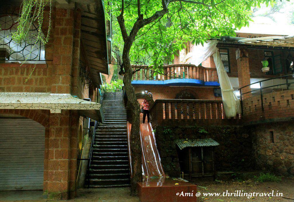 Slide into the playground, Nisha's play school near the Houses of Goa Museum