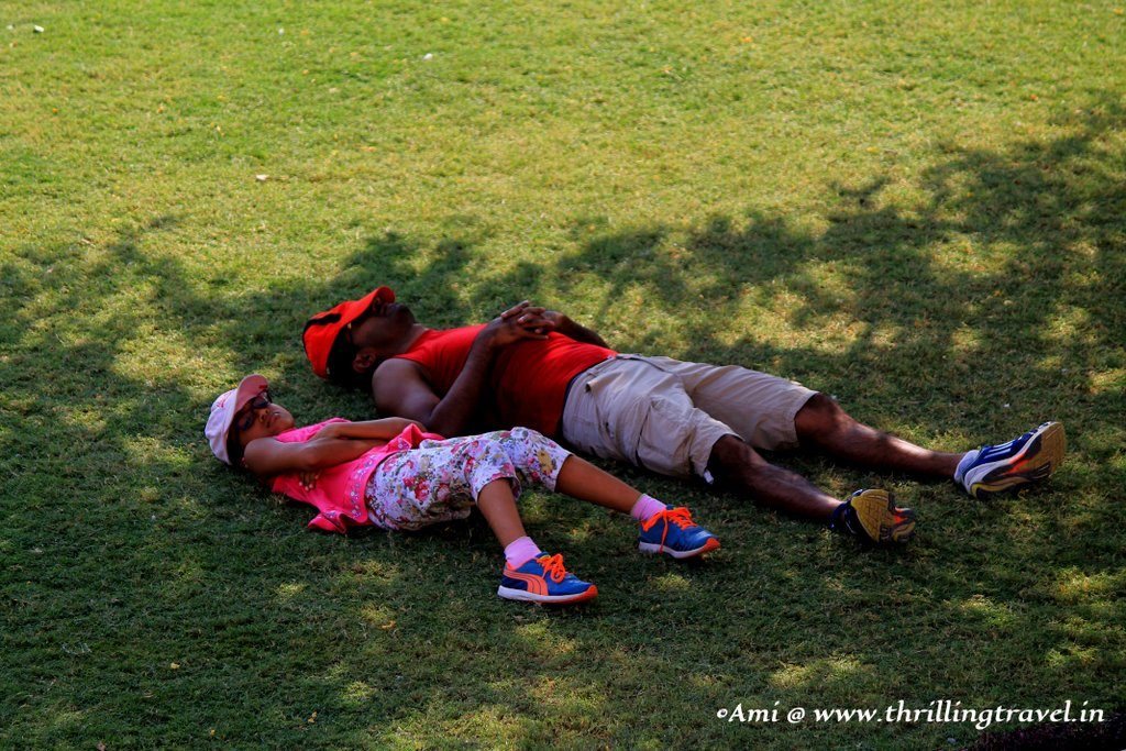 Relaxing in the lawns of Jaswant Thada