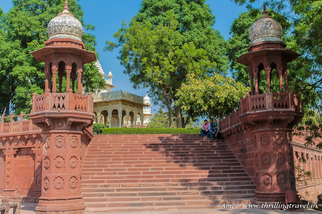 Red steps going up to Jaswant Thada
