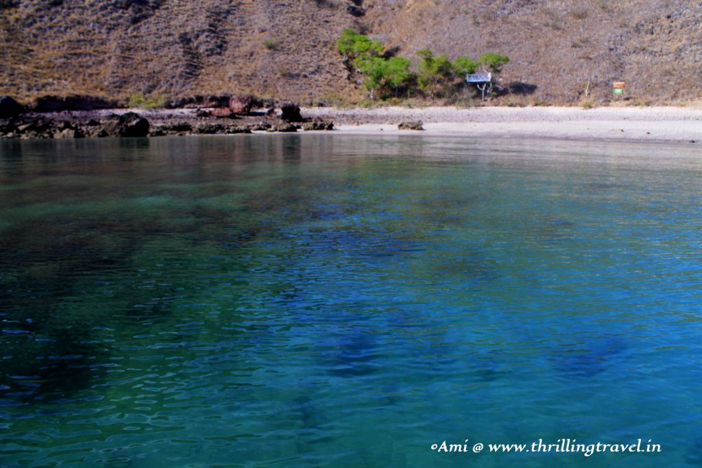 The White sand beach that we landed on at Padar Island