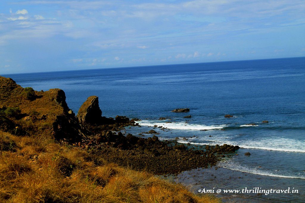 The black beach on the other side of Padar Island, as seen from Level One