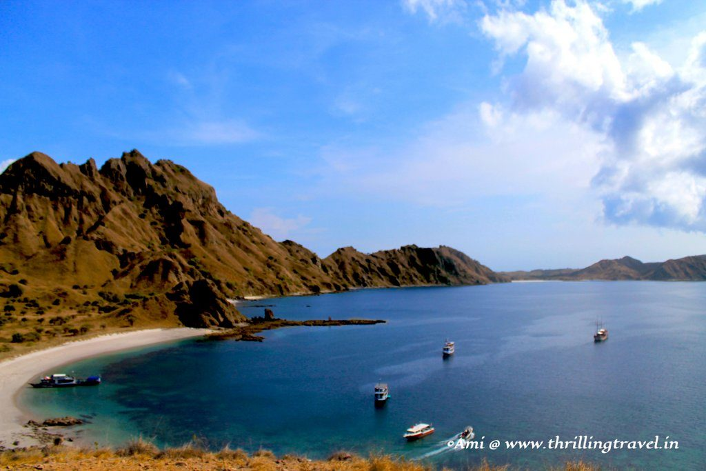 The white beach as seen from level one of the Padar Island trek