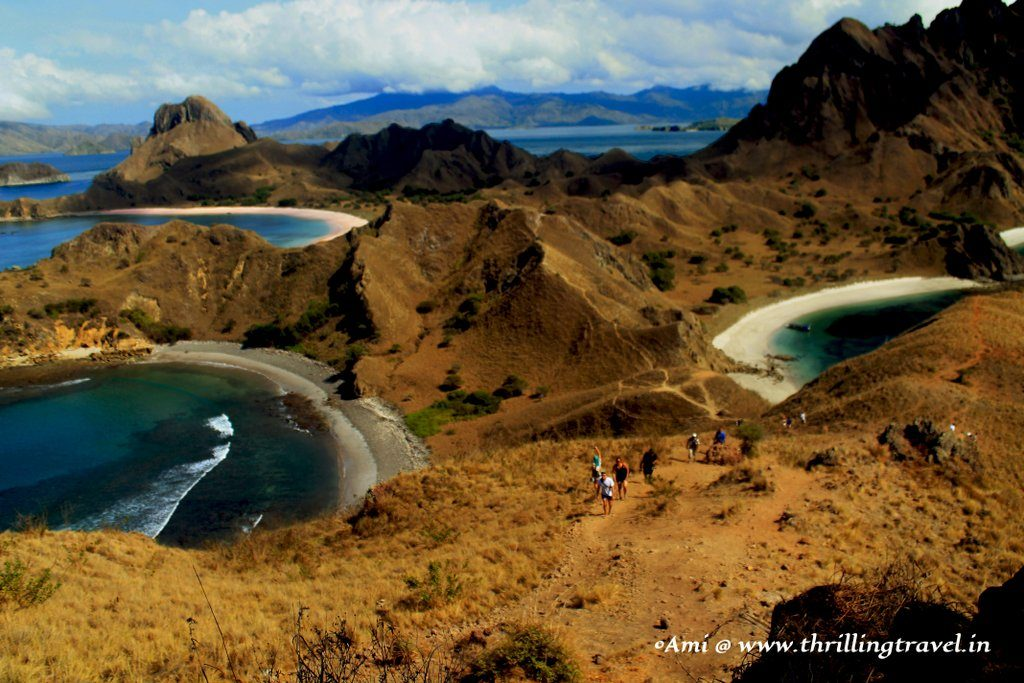 The first glimpse of the Tri-colored beaches at Padar Island