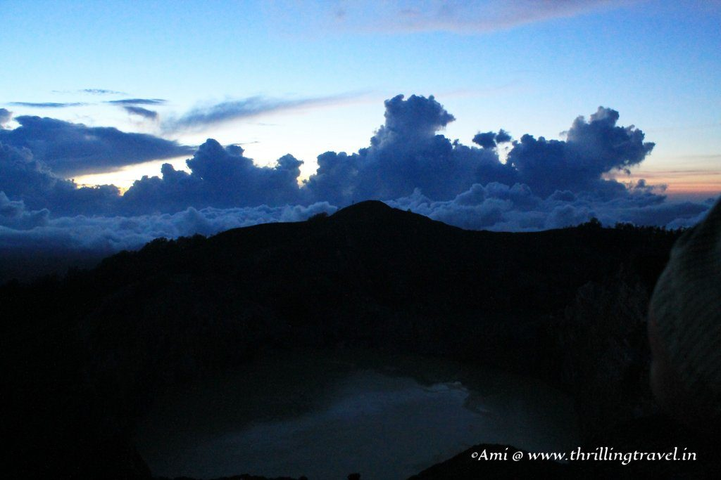 Breaking dawn over the Kelimutu mountain