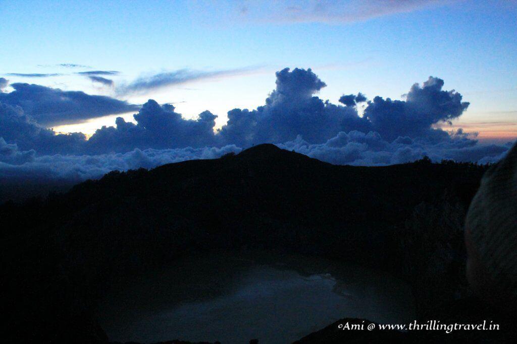 Breaking dawn over the Kelimutu mountain