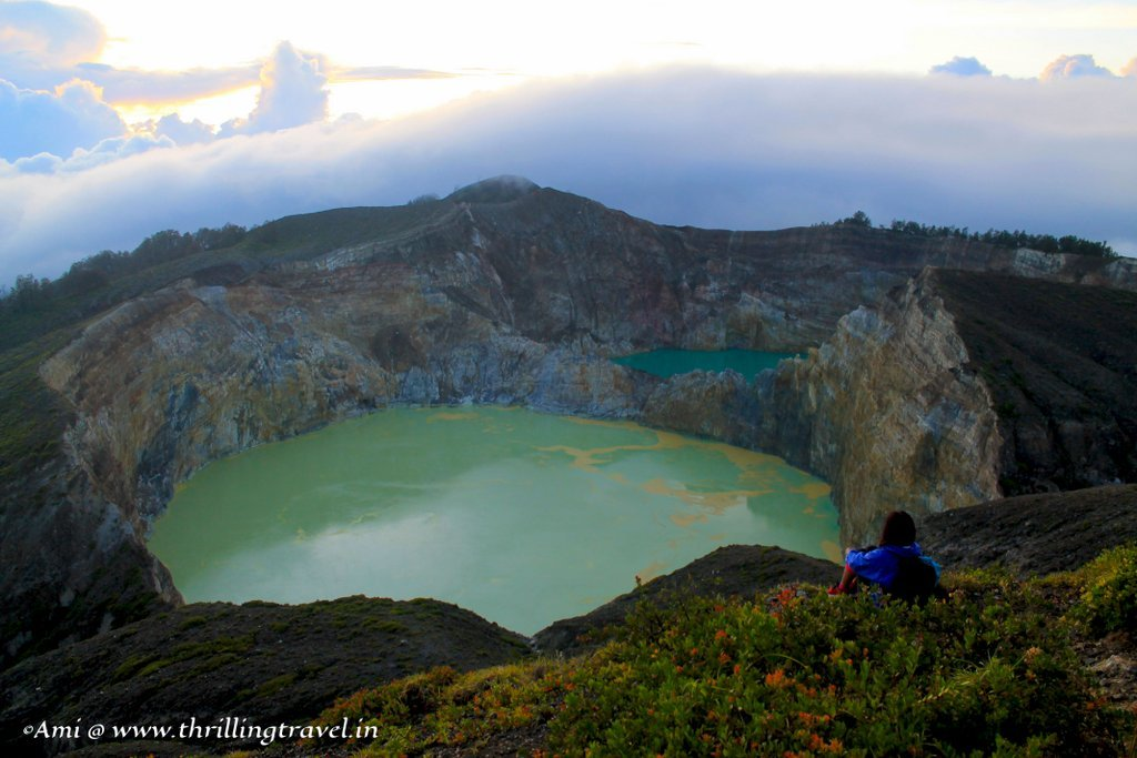 As the clouds blew over the craters and the sun rose over Kelimutu