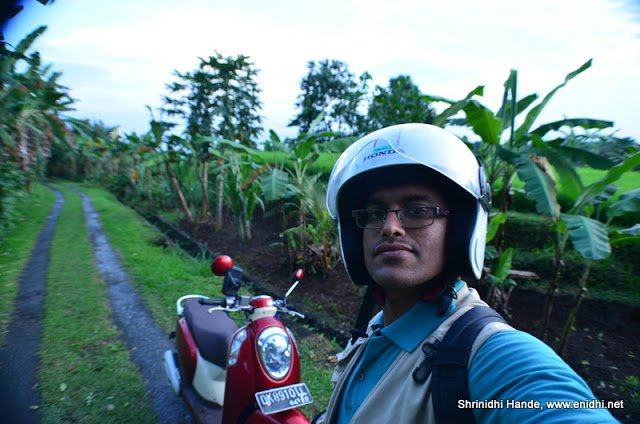 Shrinidhi and his rented bike Scoopy - in Bali