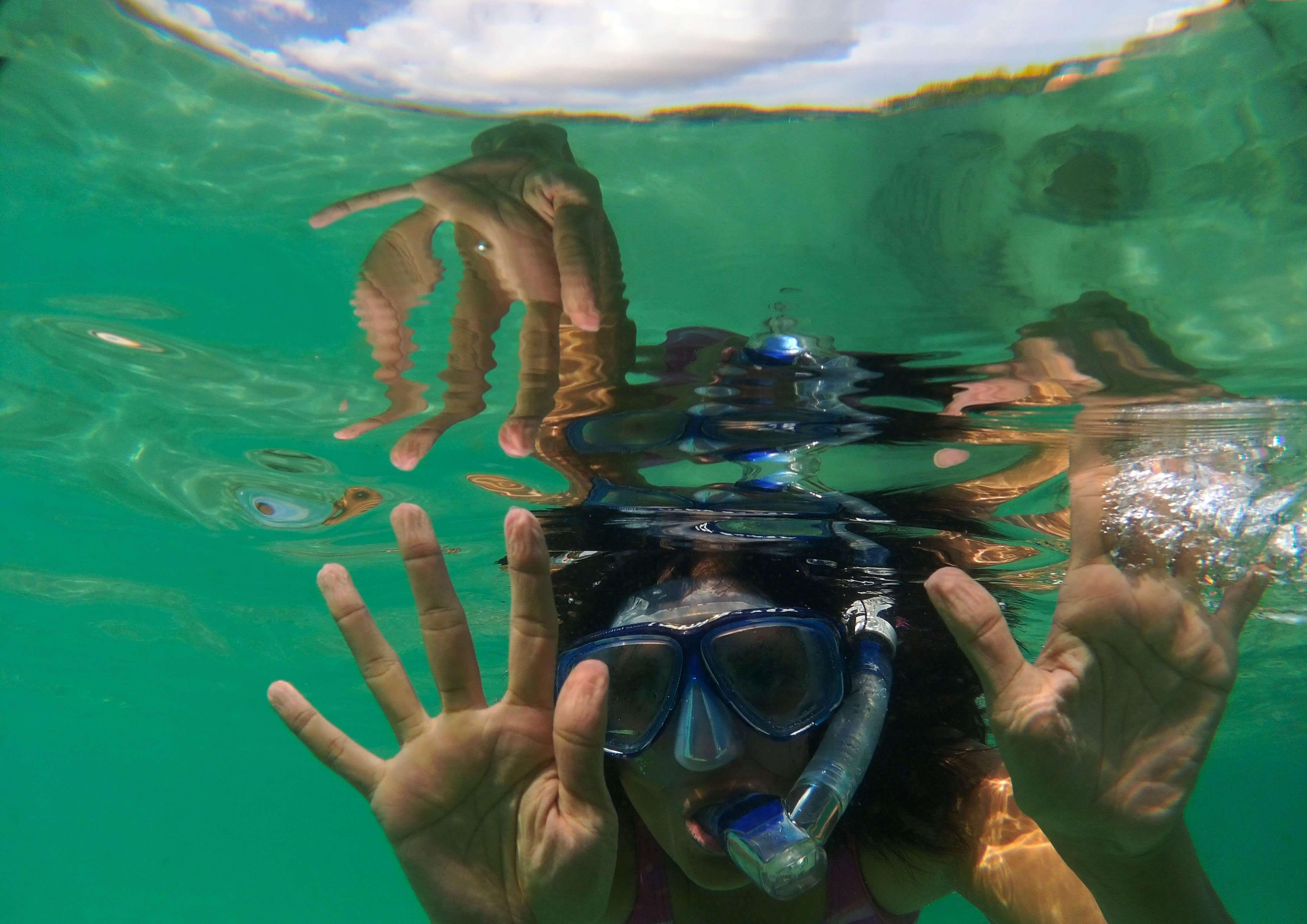 Me snorkeling at Mawun Island, Flores