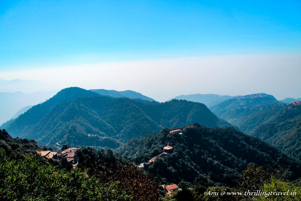 A distant view of Pari Tibba and Woodstock School, Landour