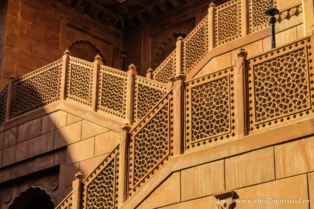 Close up of the zigzag staircases at the entrance of Junagarh Fort Bikaner