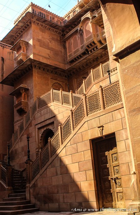 The artistic staircases at the entrance of Junagarh Fort Bikaner
